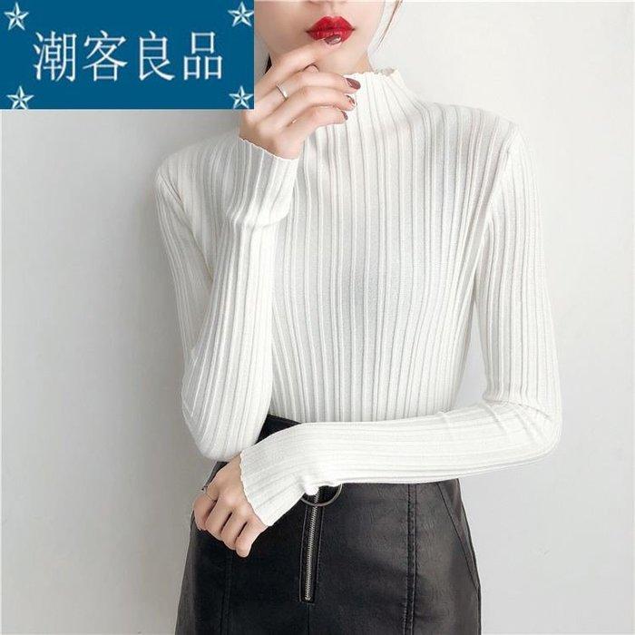 【潮客良品】~春季新款毛衫豎條紋針織衫女套頭半高領毛衣打底衫女裝 cklp9366
