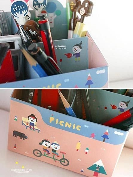 韓版DIY四格桌面收納盒/文具收納盒/桌上收納/紙質收納盒 特價:$48
