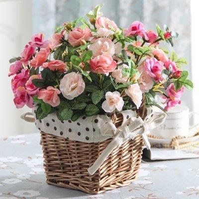 創意家居客廳裝飾品絹布玫瑰仿真花假花 薰衣草花籃花藝套裝擺件