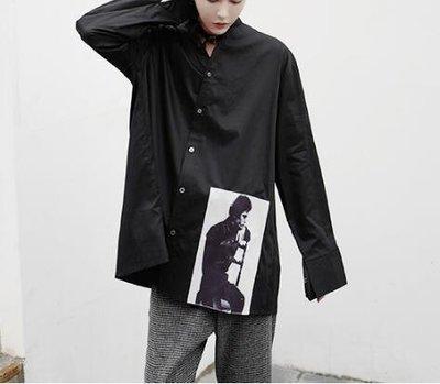 FINDSENSE Z1 韓國 時尚 潮 男 寬鬆大尺碼 下擺歐美人物印花 長袖襯衫 特色襯衫