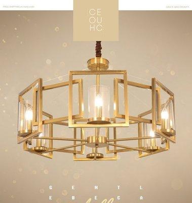 北歐創意新款古銅餐廳藝術吊燈 後現代客...