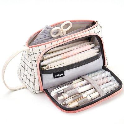 @精品良鋪 新款韓版大容量帆布筆袋韓國簡約女可愛多功能網紅少女文具盒高中鉛筆袋日系