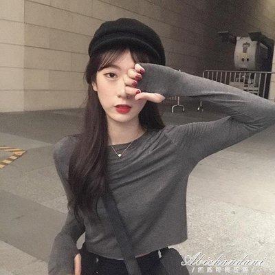 少女時髦套指長袖T恤早秋純色心機露臍短款顯瘦網紅防曬上衣
