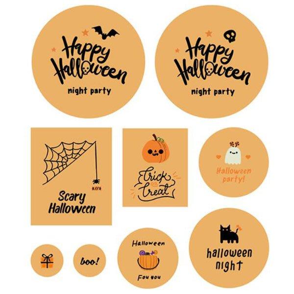 萬聖節 紫橘Halloween night呆萌黑貓南瓜 大小張貼紙 (9枚入)【HW0175】《Jami Honey》