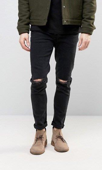 ◎美國代買◎ASOS 超顯廋好看雙膝抽鬚刷破可反摺褲管貼合身有彈性黑刷色破合身牛仔褲~歐美街風~大尺碼~