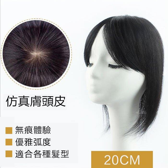 仿真膚頭皮 內網10X10 髮長20公分 100%真髮 頭頂補髮片 【RT57】 ☆雙兒網☆