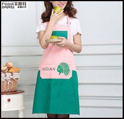 【Feast-菲斯特】-韓版時尚簡約家用廚房牛仔圍裙 定制 北歐式公主可愛創意烘焙圍裙30089