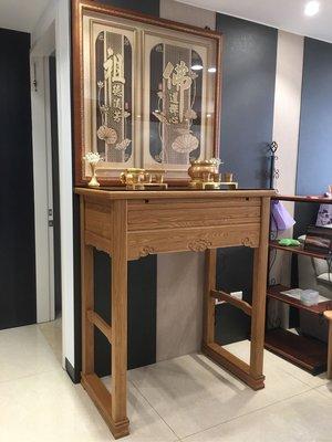 天然實木神桌 柚木佛桌 3尺6寬神桌樣式 實木雕刻神明聯 現代木雕佛聯 高級香爐銅器組