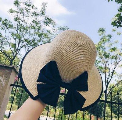 小草帽 海邊沙灘帽度假 韓版百搭 蝴蝶結防曬遮陽帽—莎芭