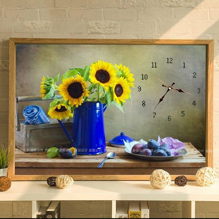 衣萊時尚3D印花簡單小幅十字繡新款客廳鐘表時鐘掛鐘簡約現代臥室花卉小件