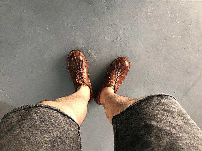 NYCT 韓國熱賣限定原創 高品質 歐美韓星百搭時尚必備款英倫復古真皮圓頭擦色做舊低幫大頭層牛皮手工裝馬丁皮鞋男女情侶