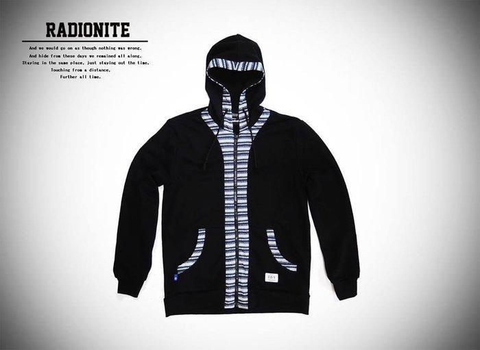美國東村【RADIONITE】Full-Zip Hoodie 民族提花連帽外套 黑色