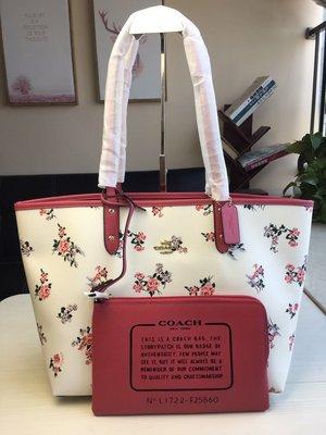 NaNa代購 COACH 25860 新款女士托特包 可雙面使用 子母包 容量大 可肩背 附購證 買即送禮