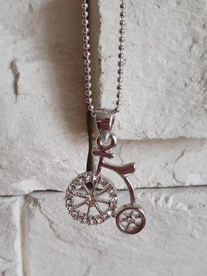 全新Le polka單車脚踏車水鑽合金項鍊