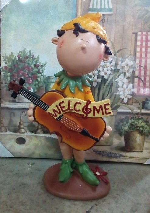 【浪漫349】特價50cm高  微笑花仙子提琴款 welcome 迎賓娃娃 波麗擺飾