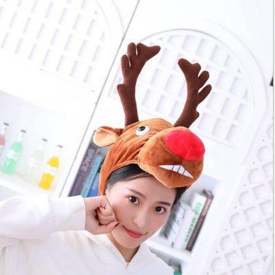 動物帽子/聖誕帽/麋鹿帽/麋鹿頭套/紅鼻子麋鹿帽
