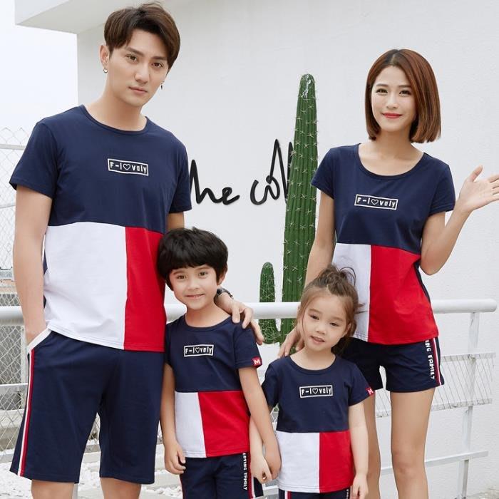 【甜蜜蜜親子童裝】韓版1840《藍白紅拼色款》短袖親子裝♥情侶裝