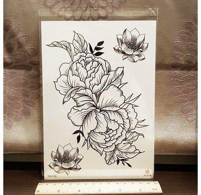 【萌古屋】巴洛克風花朵大圖 - 男女防水紋身貼紙刺青貼紙TH-176