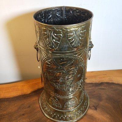 [古韻之家] 18世紀歐洲古董老式黃銅銅皮雕花傘筒銅器收藏2.25公斤高55.5釐米 ZG2164