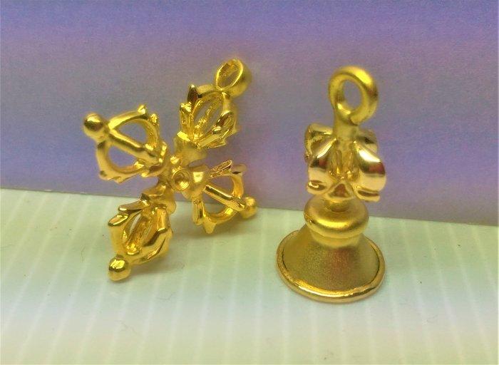 @居士林@藏傳-殊勝法器-鍍金十字杵+金剛鈴(一對)迷你版-吊飾