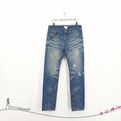 【150元起標無底價~全新➽專櫃品牌 50% FIFTY PERCENT】男裝-藍色立體壓紋刷色破損風優質棉牛仔褲-S碼