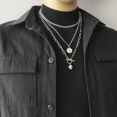 韓國飾品館&2020新款個性多層項鍊網紅個性嘻哈鈦鋼毛衣鍊男女百搭配飾掛鍊潮
