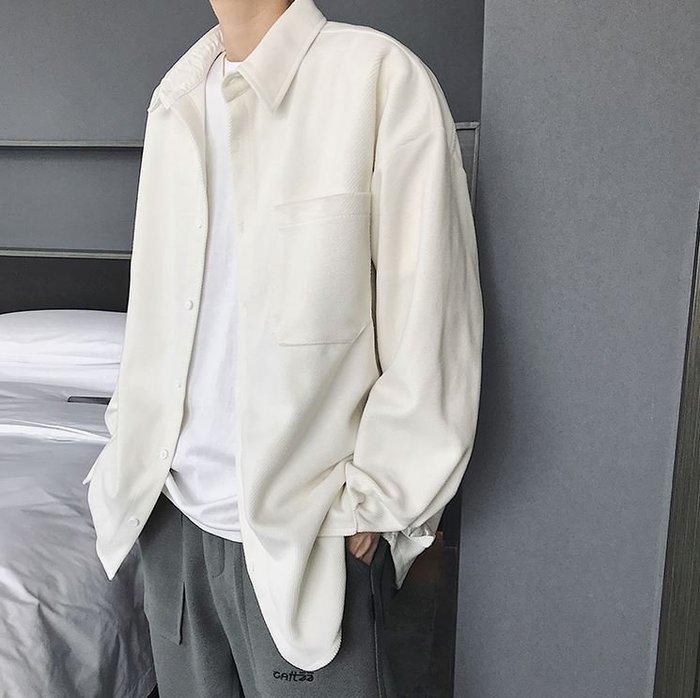【NoComment】韓系街頭時尚 質感簡約 寬版素面斜紋長袖襯衫 黑白兩色 ZARA