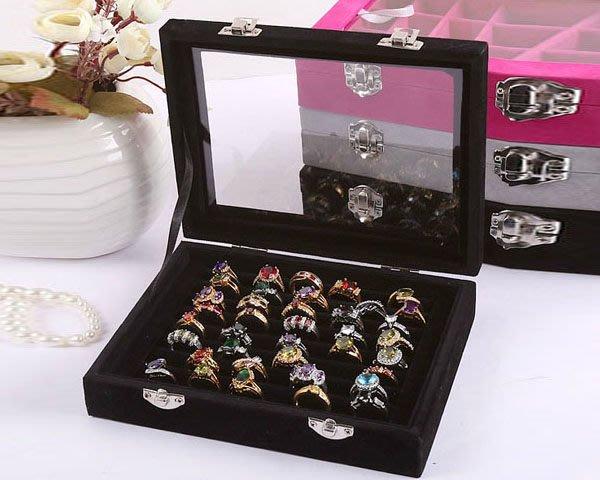 5Cgo【鴿樓】會員有優惠 25882468129 高檔帶蓋實木戒指盒 全絨耳釘盒 珠寶箱 首飾盒 飾品展示盒