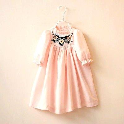 Amber's  Clothe 粉色宮廷風刺繡花朵洋裝