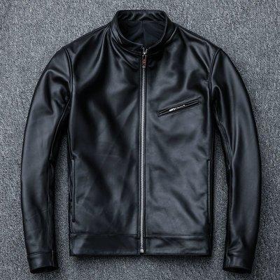 【時尚潮流購物】重磅頭層綿羊皮機車修身立領皮衣 C630
