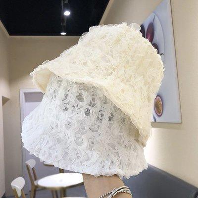 漁夫帽 盆帽-網紗皺褶鏤空純色女帽子3色73xu46[獨家進口][米蘭精品]