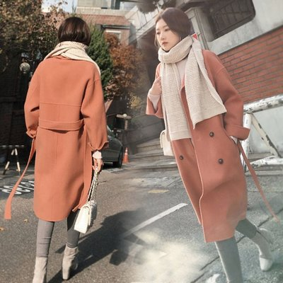 Gssaw.AJ【AZ0634】秋冬♡純色雙排扣羊毛呢大衣♡ 經典款毛呢外套