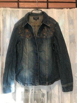Nautica 刺繡 襯衫 牛仔外套 denim jacket shirt 女 M 美國品牌 公母釦