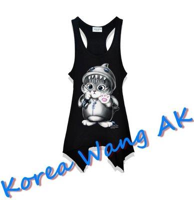 Korea Wang AK ~(預購)台灣原創獨家設計 美國100%純棉 限定版 鯨魚貓長版背心 三款【P036】