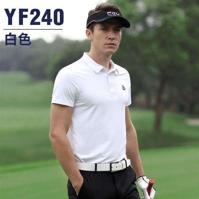 @萌時尚戶外運動球衣 PGM高爾夫短袖T恤男士夏季透氣高球運動服裝 男裝速干比賽球衣服