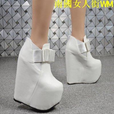 南國女人街WM19cm秋冬新款加絨短靴蝴蝶結淑女性感超高跟坡跟女鞋踝靴白色19cm
