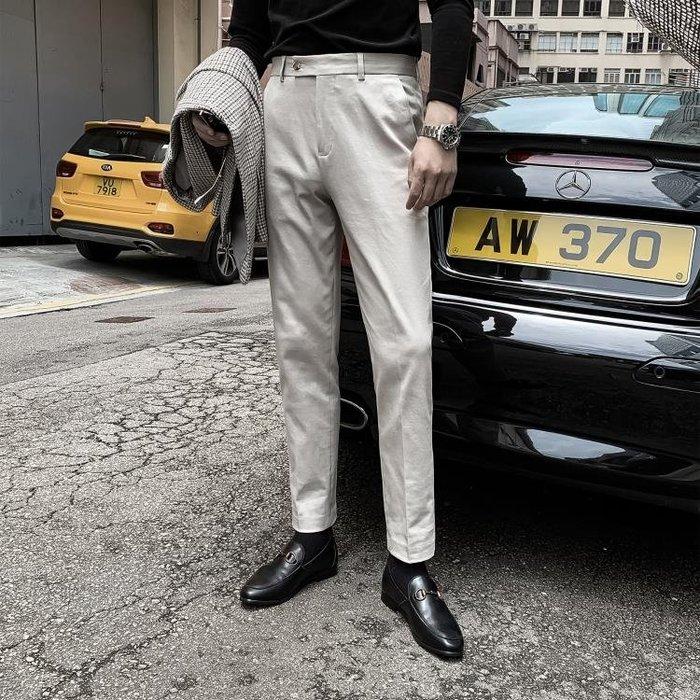 西裝褲【DAIO MENS】韓國男純色百搭直筒西裝褲修身休閒褲英倫時尚小腳 型男小鋪