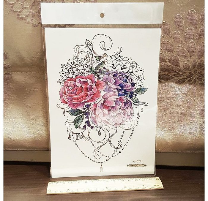 【萌古屋】花朵寶石手臂大圖 - 男女防水紋身貼紙原宿刺青貼紙K03