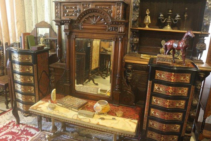 【家與收藏】極品稀有珍藏歐洲百年古董英國19世紀新古典主義風格手工木雕玄關大桌鏡/掛鏡