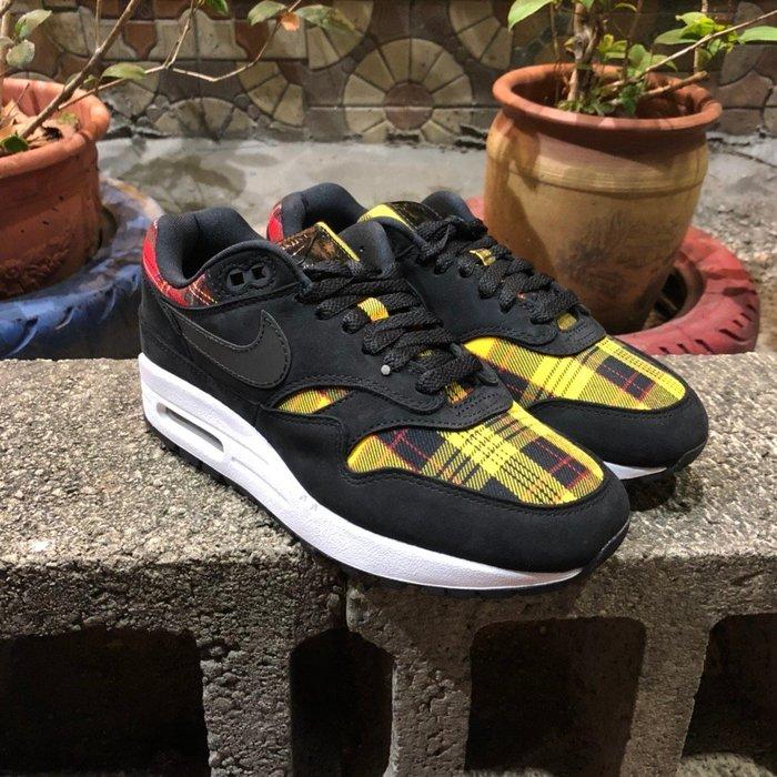 玉米潮流本舖 WMNS NIKE AIR MAX 1 SE TARTAN AV8219-001 黑黃 格紋 氣墊慢跑鞋