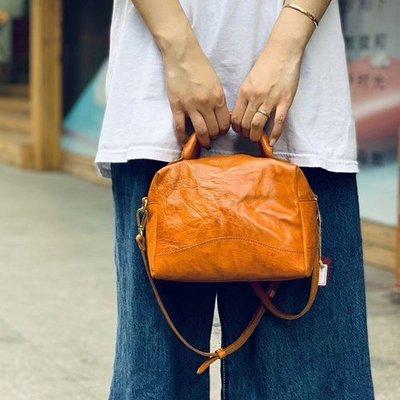單肩包 真皮 手提包-植鞣牛皮純色枕頭包女包包3色73xo12[獨家進口][米蘭精品]