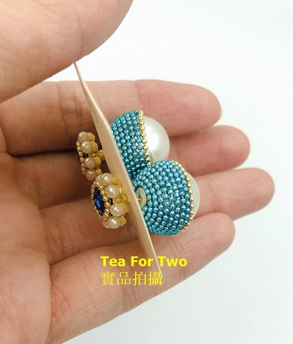 出清特賣- 現貨No2 - 藍色大顆前後特殊造型耳環