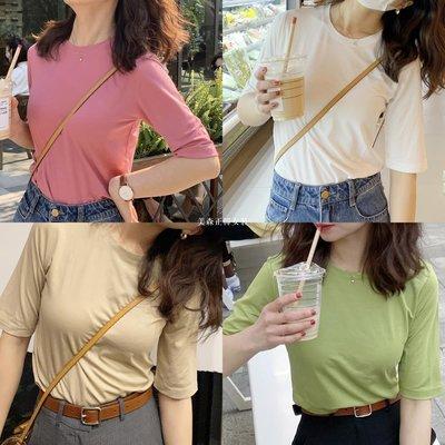 大吹女20/春夏 bi入hin新品好穿的半袖上衣純新色小版型基礎款復古色T恤T01