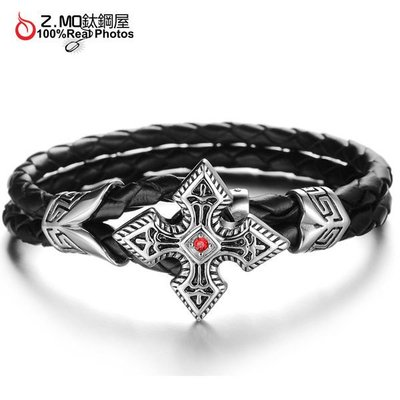 優質白鋼皮手環 歐美造型配件 十字紅心造型 特別禮物 單件價【CKLS848】Z.MO鈦鋼屋