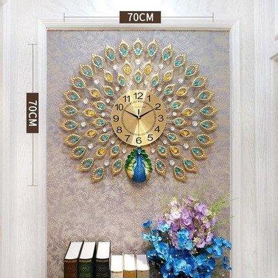 YEAHSHOP 孔雀掛鐘 客廳歐式創意鐘錶家用大氣靜音時Y185