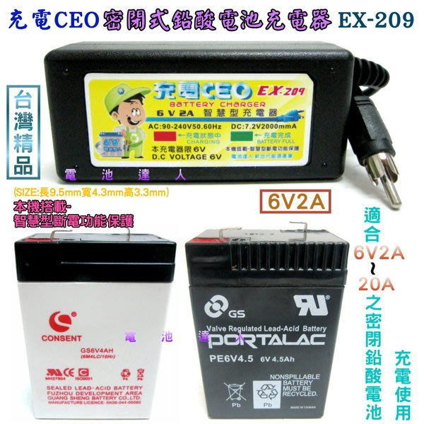 EX-209 智慧型-6V密閉電池充電器-充電機 YUASA湯淺 NP6-4 6V-4AH 兒童車電池 照明燈電池適用