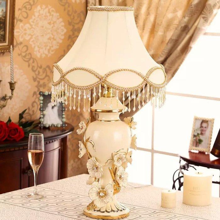 粉紅玫瑰精品屋~歐式高檔奢華鑲鑽象牙瓷檯燈 桌燈~