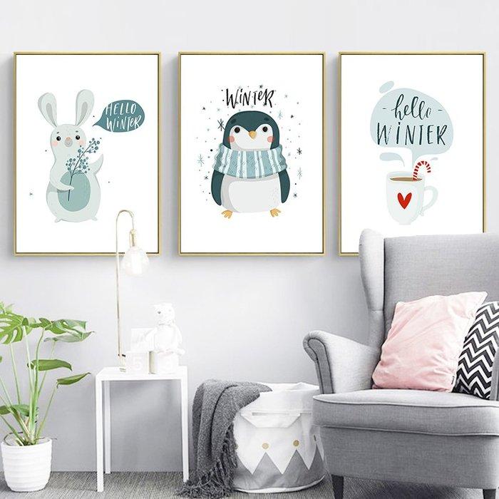 三幅一組油畫布 字母卡通動物 畫芯/畫布/30X40☺暖暖屋☺傢居藝術館