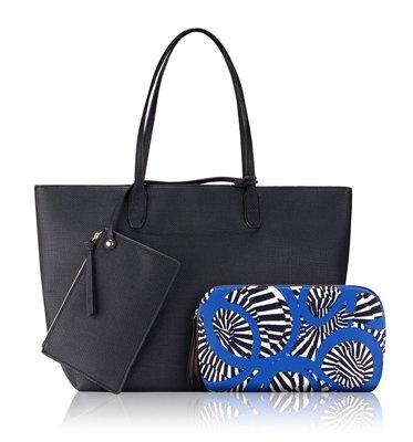雅詩蘭黛 Estee Lauder 時尚湛藍斑馬紋托特包三件組 全新品  特價400元  [3S三森美家]