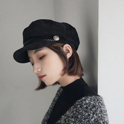 春季軍帽子女英倫韓版潮人春夏海軍貝雷帽百搭時尚黑色畫家八角帽